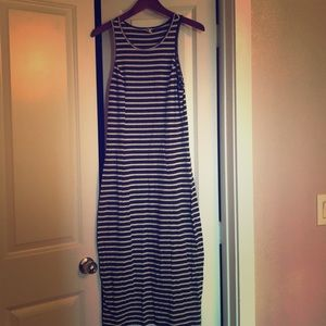 Navy Blue and White Striped Roxy Dress